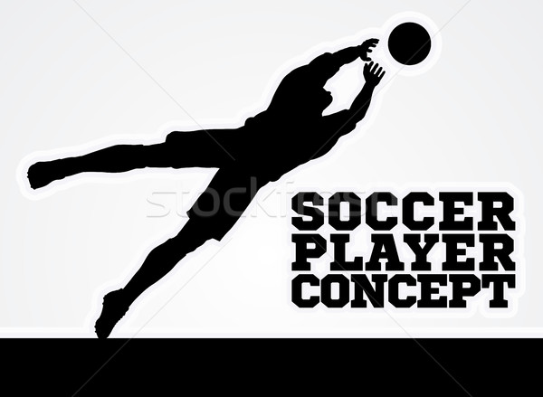 Diving Goal Keeper Silhouette Soccer Player Stock photo © Krisdog