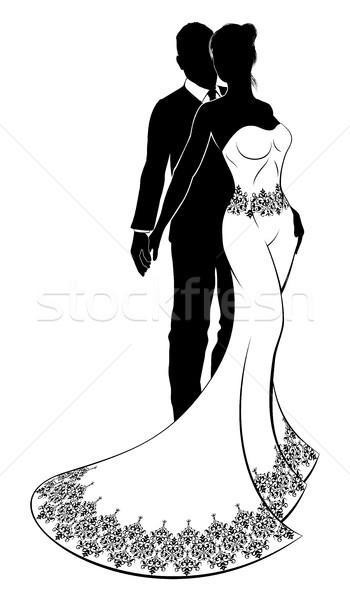Bride and Groom Wedding Couple Silhouette Stock photo © Krisdog