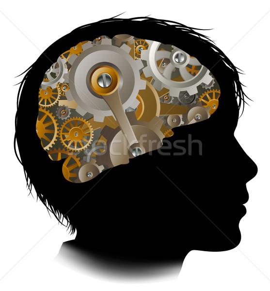 Child Machine Workings Gears Cogs Brain Stock photo © Krisdog