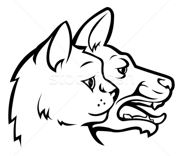 Pets Cat and Dog Faces Icon Concept Stock photo © Krisdog