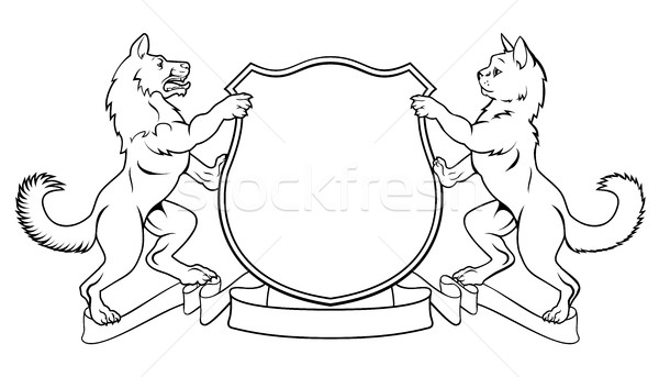 Cat and Dog Crest Coat of Arms Heraldic Shield Stock photo © Krisdog