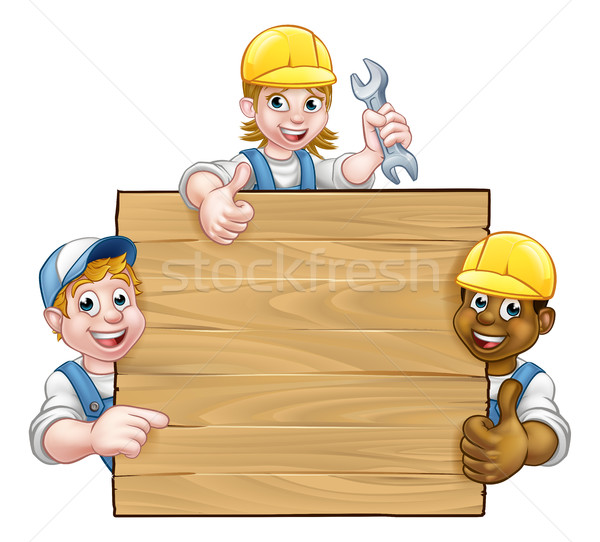Handyman Workers Background Sign Stock photo © Krisdog