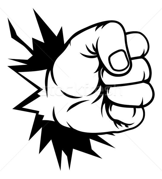 Fist Hand Punching Through Wall Stock photo © Krisdog
