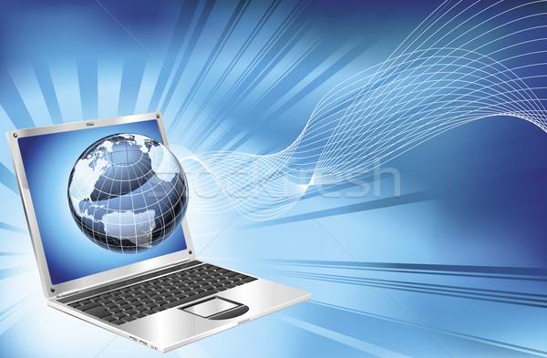 Stock photo: Laptop word map globe business background