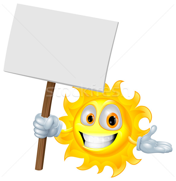 Sun character holding a sign board Stock photo © Krisdog