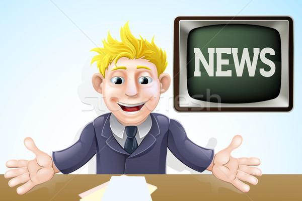 TV Newscaster cartoon Stock photo © Krisdog