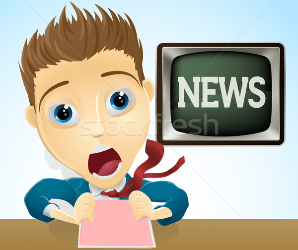 Shocked TV news presenter Stock photo © Krisdog