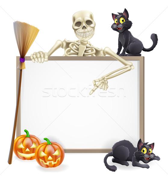 Skeleton Halloween Sign Stock photo © Krisdog