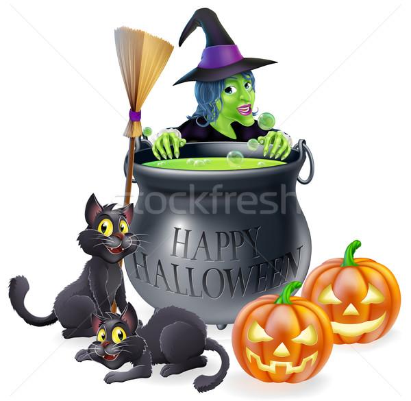 Boldog halloween boszorkány üst illusztráció rajz Stock fotó © Krisdog