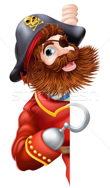 Foto stock: Amigável · desenho · animado · pirata · assinar · ilustração
