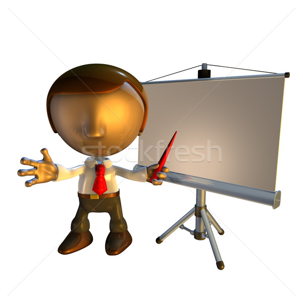 Stock photo: 3d business man character with presentation equipment