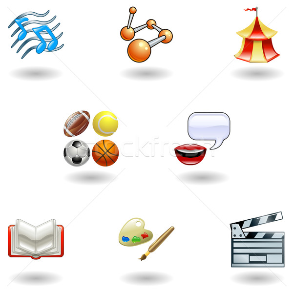 Glossy category education web icons Stock photo © Krisdog