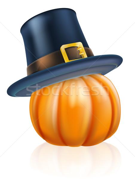 Hálaadás zarándok kalap sütőtök rajz visel Stock fotó © Krisdog