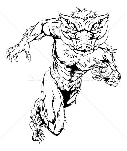 Boar mascot sprinting Stock photo © Krisdog