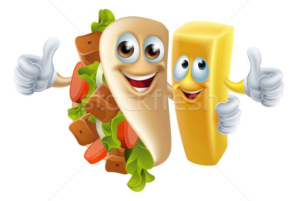 Kebab and Chip Mascots Stock photo © Krisdog