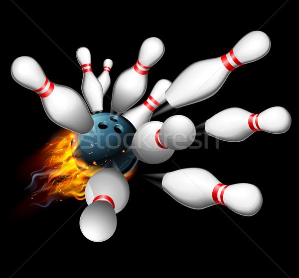 Bowling Streik flammenden Bowlingkugel Feuer Hintergrund Stock foto © Krisdog