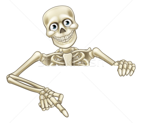 Stock photo: Cartoon Skeleton Pointing at Sign