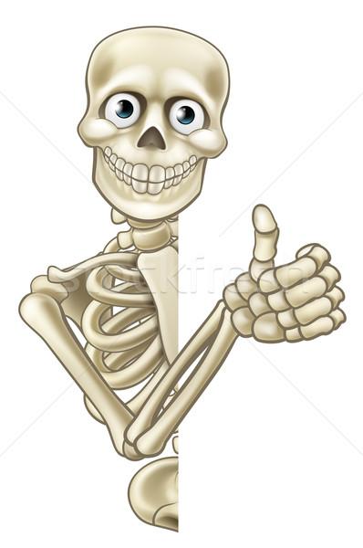 Cartoon Halloween Skeleton Thumbs Up Stock photo © Krisdog