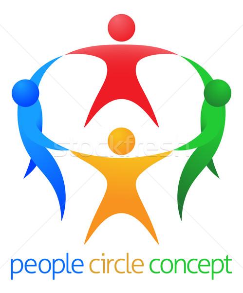 Pessoas círculo equipe quatro pessoas trabalho em equipe ícone Foto stock © Krisdog