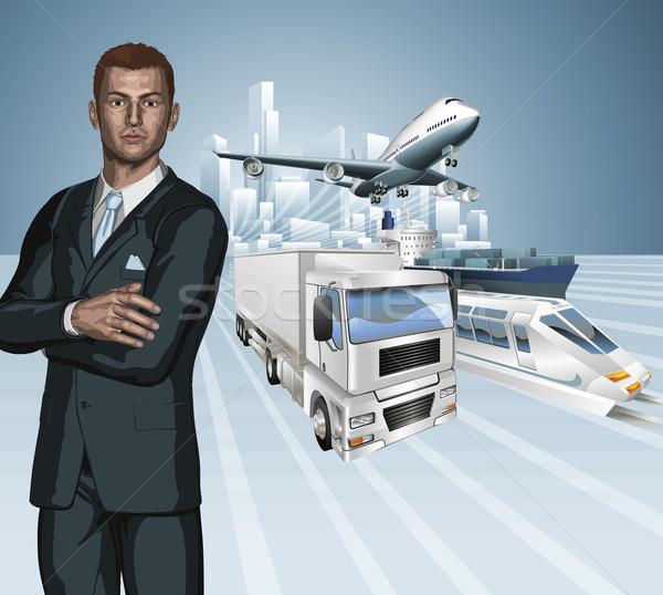 Logística hombre de negocios negocios empresario avión camión Foto stock © Krisdog
