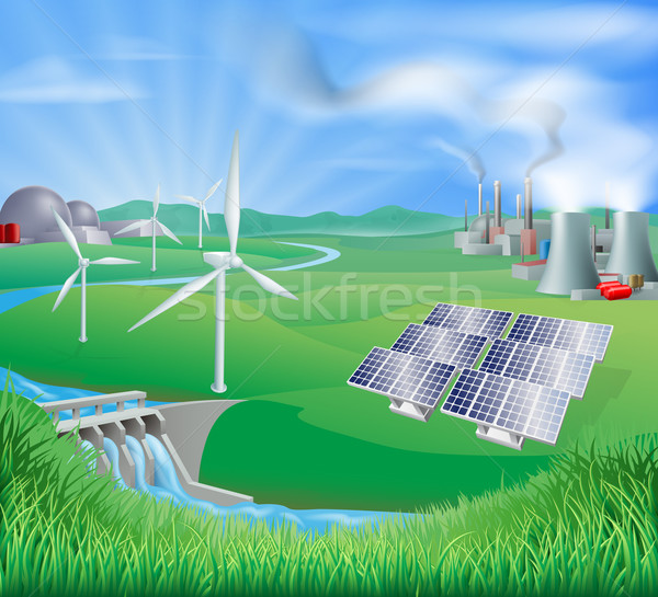 Electricity or power generation methods Stock photo © Krisdog
