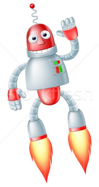 Cute vliegen robot man gelukkig Rood Stockfoto © Krisdog
