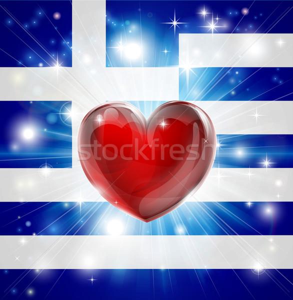 Love Greece flag heart background Stock photo © Krisdog