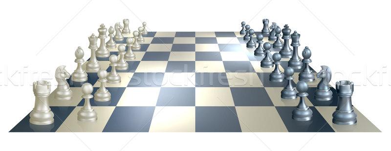Satranç tahtası parçalar örnek perspektif açılış satranç Stok fotoğraf © Krisdog