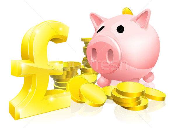 Pound sign piggy bank Stock photo © Krisdog
