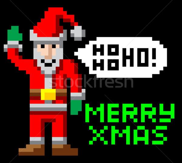 Retro pixel art Christmas Santa Stock photo © Krisdog