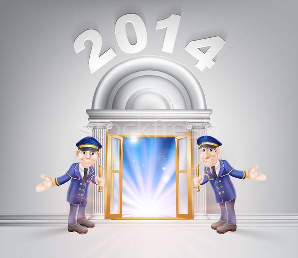 új év ajtó 2014 nyitott ajtó fény streamelés Stock fotó © Krisdog