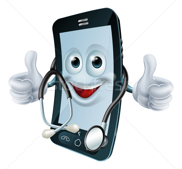 Phone man with a stethoscope Stock photo © Krisdog