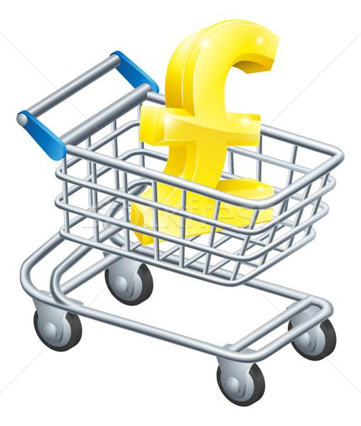 Font valuta bevásárlókocsi felirat áruház pénz Stock fotó © Krisdog