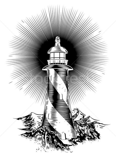 Wood block style lighthouse Stock photo © Krisdog