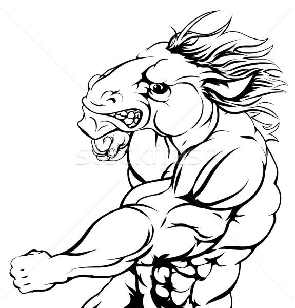 Punching horse mascot Stock photo © Krisdog