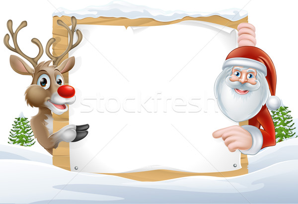 Santa and Reindeer Sign Stock photo © Krisdog