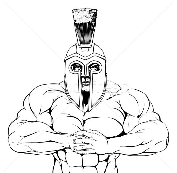 Taai trojaans spartaans gladiator gespierd mascotte Stockfoto © Krisdog