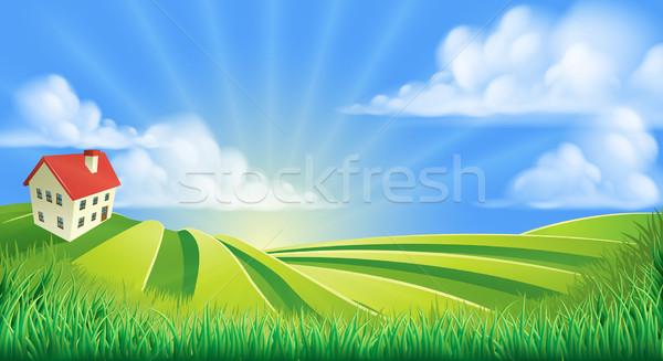 холмы полях фермы Восход Cartoon иллюстрация Сток-фото © Krisdog