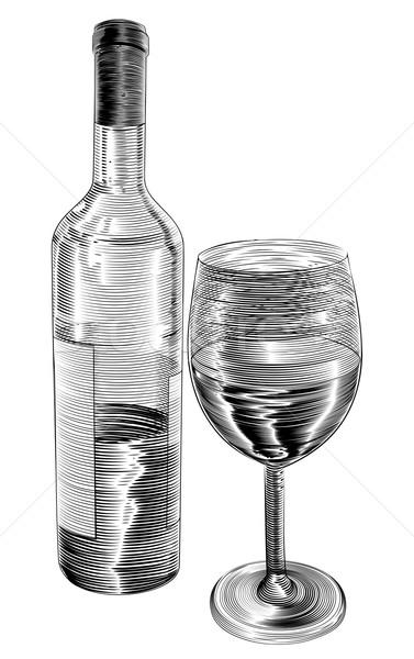 Vintage woodcut wine bottle and glass Stock photo © Krisdog