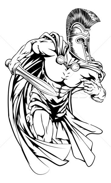 Spartaans zwaard illustratie krijger karakter sport Stockfoto © Krisdog
