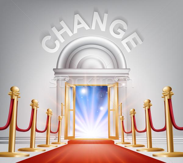 Zmian czerwonym dywanie drzwi ilustracja szykowny patrząc Zdjęcia stock © Krisdog