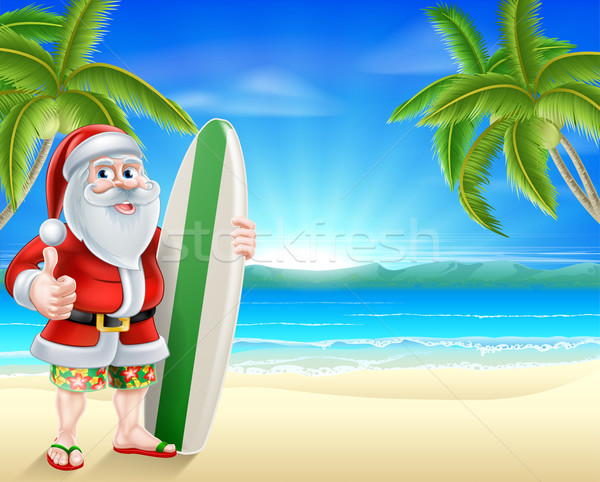 Santa surfer on tropical beach Stock photo © Krisdog