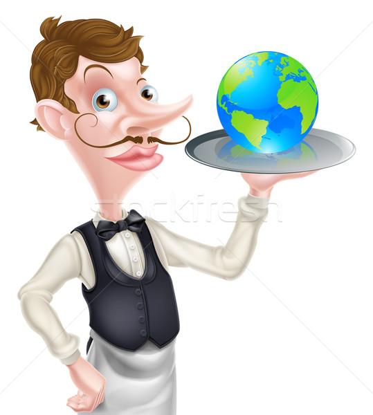 De ober wereldbol wereld voedsel chique Stockfoto © Krisdog