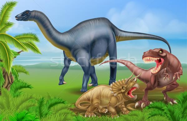 T Rex Triceratops and Diplodocus Stock photo © Krisdog