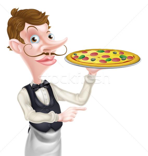 Pizza pincér mutat illusztráció rajz tart Stock fotó © Krisdog