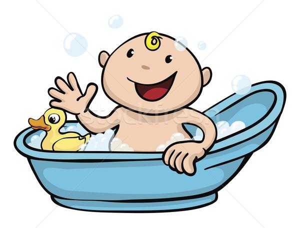Happy cute baby bath time Stock photo © Krisdog
