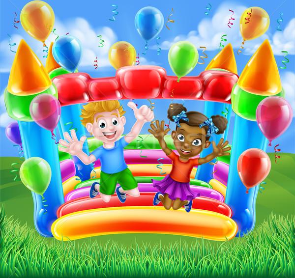 Cartoon kinderen kasteel twee kinderen jongen Stockfoto © Krisdog