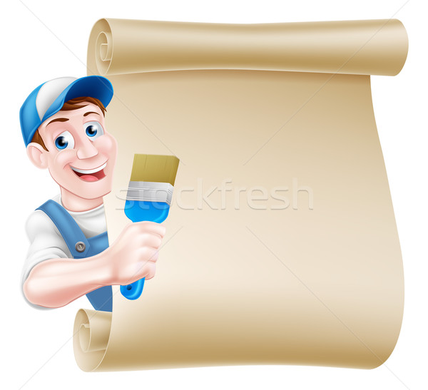 Cartoon Painter Decorator Scroll Stock photo © Krisdog