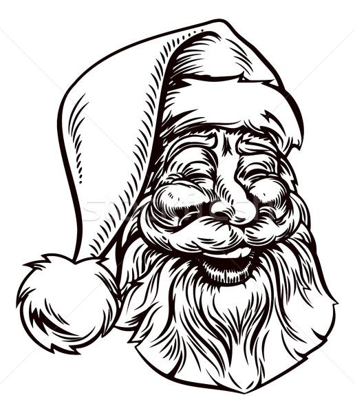 Christmas Santa Claus Vintage Woodcut Style Stock photo © Krisdog