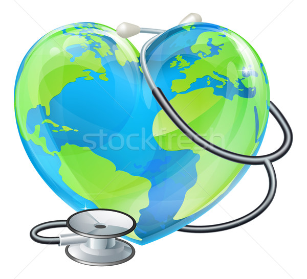 Heart World Health Day Earth Stethoscope Globe Concept Stock photo © Krisdog